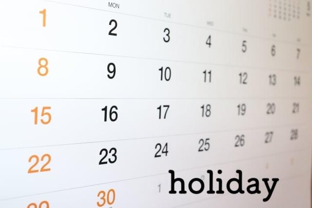休日を確認するカレンダー