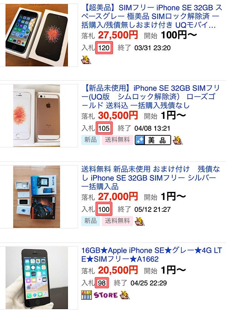 ヤフオクでのiPhone価格