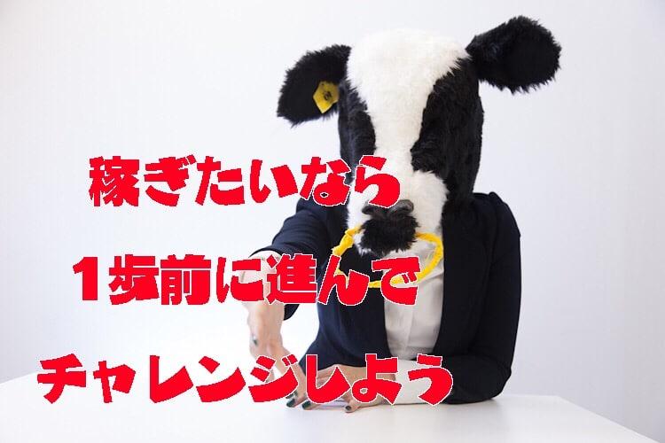 チャレンジを応援する牛