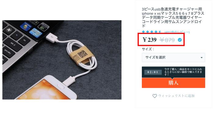 Wishで販売されている価格 充電器