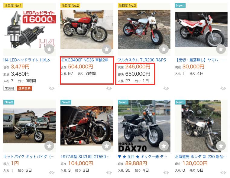 バイクの販売価格