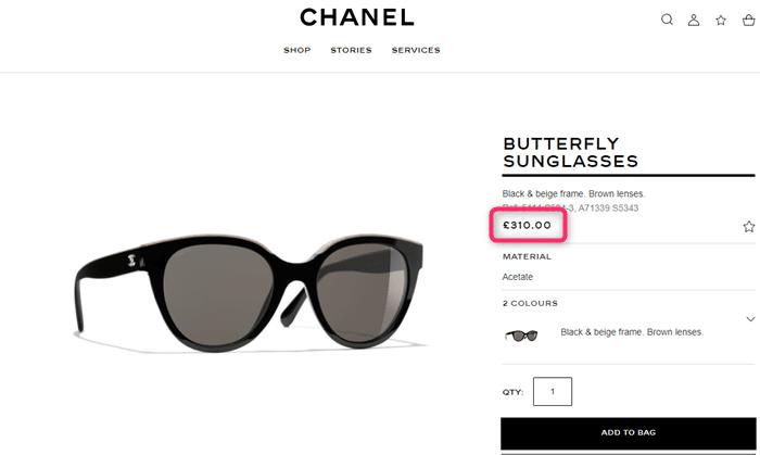 フランスで販売されているシャネルのサングラス