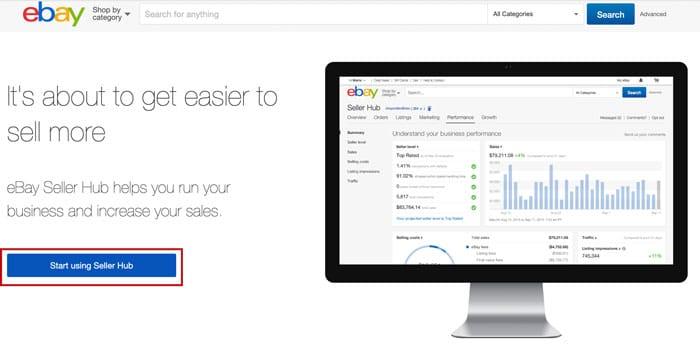 「Start using Seller Hub」をクリック