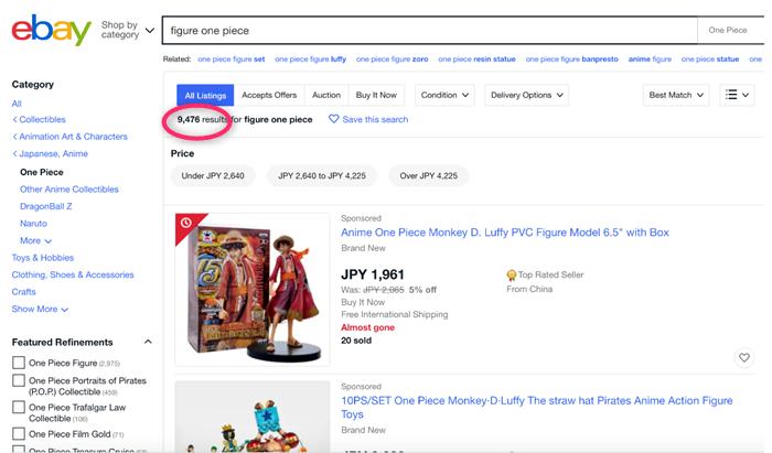 ebayでワンピースの検索結果を調べた